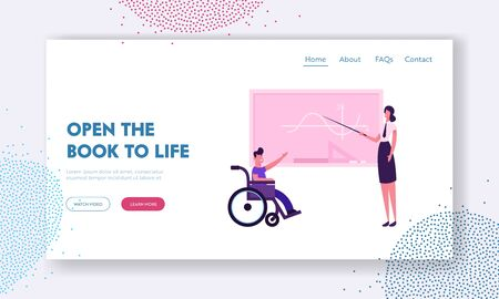 Disability School Website Landing Page. Teacher and Disabled Boy in Wheelchair near Blackboard in Classroom Illustration