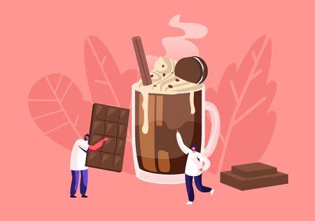 La gente y el concepto de chocolate con un pequeño personaje masculino llevan una enorme barra de chocolate, un hombre de pie en una taza con un cóctel decorado