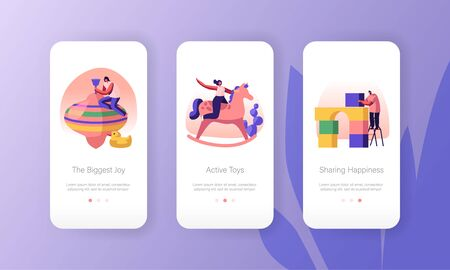 Happy People Playing with Kids Toys Mobile App Page Onboard Screen Set. Male and Female Characters Active Games