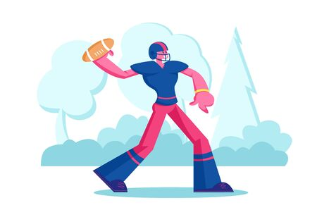 American Football Championship or Training. Young Footballer in Sportswear and Helmet Throwing Ball to Receiver. Aggressive Team Game, Professional Sport Lifestyle. Cartoon Flat Vector Illustration