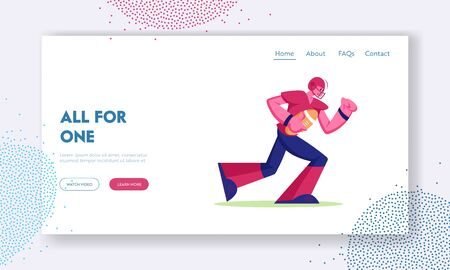 Professional Sportsman Playing American Football Website Landing Page. College Competition on Stadium. Young Footballer Player Carry Ball to Touchline Web Page Banner. Cartoon Flat Vector Illustration