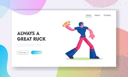 American Football Championship or Training Website Landing Page. Young Footballer in Sportswear and Helmet Throw Ball to Receiver. Aggressive Team Game Web Page Banner Cartoon Flat Vector Illustration Ilustração
