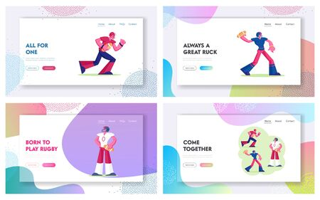 American Football or Rugby College Tournament Website Landing Page. Professional Sportsmen Attacking Opponents Championship on Stadium Sport Lifestyle Web Page Banner. Cartoon Flat Vector Illustration Çizim