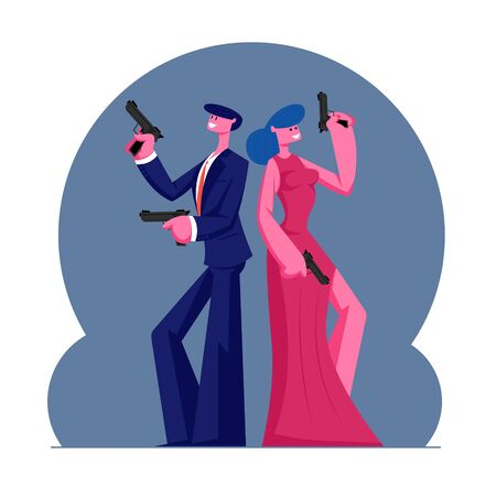Young Self-confident Couple of Man and Woman in Modern Evening Clothes Holding Guns Stand Back to Back. Secret Agents Mission, Actor and Actress Playing Role in Movie. Cartoon Flat Vector Illustration