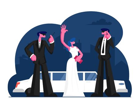 Young Famous Woman Stand at Limousine Waving Hands. Girl in White Dress and Men Guardians in Black Suits on Red Carpet Award Ceremony. Luxury Celebrity Lifestyle. Cartoon Flat Vector Illustration Illustration