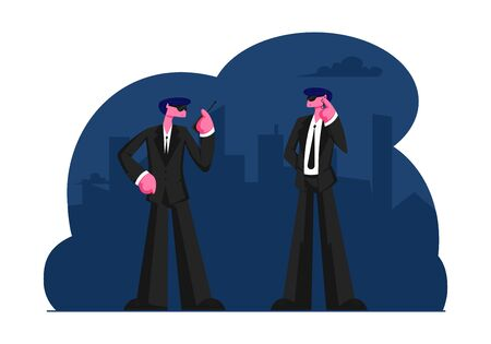 Couple of Male Bodyguards Characters Wearing Black Suit Waiting Celebrity or Famous Vip Person Arriving Talking by Walkie-Talkie. Professional Client Assistance. Cartoon Flat Vector Illustration Çizim