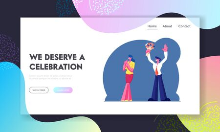 Holiday Celebration Website Landing Page. Man and Woman in Festive Clothing with Flower Bouquet Celebrate Anniversary or Party, Fans Greeting Artists Web Page Banner. Cartoon Flat Vector Illustration
