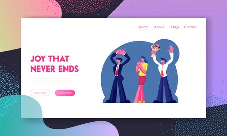 Party or Anniversary Celebration Website Landing Page. Group of People Applauding and Waving Hands, Man in Formal Suit Holding Flowers Bouquet, Web Page Banner. Cartoon Flat Vector Illustration