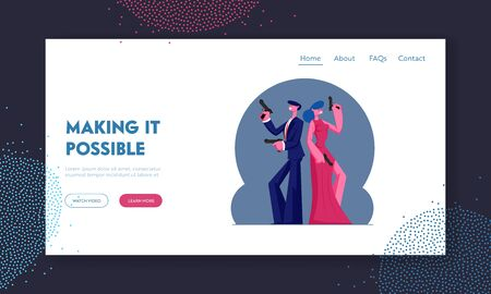 Secret Agents Mission, Actor and Actress Playing Role in Movie Website Landing Page. Man and Woman in Elegant Clothes Holding Guns Stand Back to Back Web Page Banner. Cartoon Flat Vector Illustration Illustration