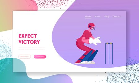 Cricket Tournament, Competition Website Landing Page. Young Smiling Sportsman Cricketer Catcher Player Stand in Position for Catching Ball Batsman Hit Web Page Banner. Cartoon Flat Vector Illustration