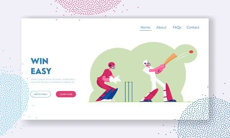 Cricket Tournament Website Landing Page. Batsman in Professional Uniform Hitting Ball with Bat, Sportsmen Playing Sports Game, Championship Event Web Page Banner. Cartoon Flat Vector Illustration  イラスト・ベクター素材