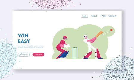 Cricket Tournament Website Landing Page. Batsman in Professional Uniform Hitting Ball with Bat, Sportsmen Playing Sports Game, Championship Event Web Page Banner. Cartoon Flat Vector Illustration 向量圖像