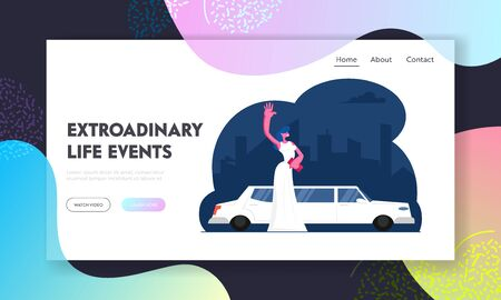 Gala Show Celebrity Arriving to Award Ceremony Website Landing Page. Elegant Young Woman in White Gown Standing near Limousine Waving Hand Famous Star Web Page Banner. Cartoon Flat Vector Illustration