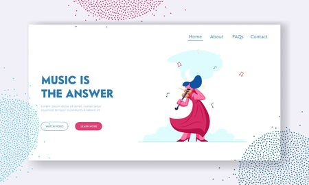 Classical Music Concert Website Landing Page. Young Woman Solo Musician Playing Violin Giving Performance on Philharmonic Stage. Musical Art Culture Web Page Banner. Cartoon Flat Vector Illustration