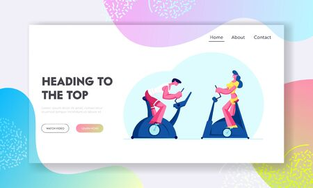 Biking Cardio Exercising in Fitness Club Website Landing Page. Woman and Man Training in Gym on Exercise Bike. Healthy People Sports Lifestyle Workout Web Page Banner. Cartoon Flat Vector Illustration
