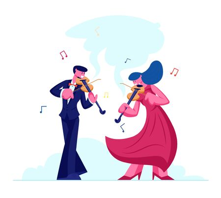 Musicians with Instruments Perform on Stage with Violins, Symphony Orchestra Classical Music Concert, Performance on Philharmonic Scene, Instrumental Duet Ensemble Cartoon Flat Vector Illustration