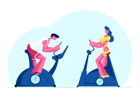 Woman and Man Training in Gym on Exercise Bike. Sports Lifestyle Workout, Healthy People Doing Cardio Exercising in Fitness Club Biking Sport Hobby Weight Loss Process Cartoon Flat Vector Illustration