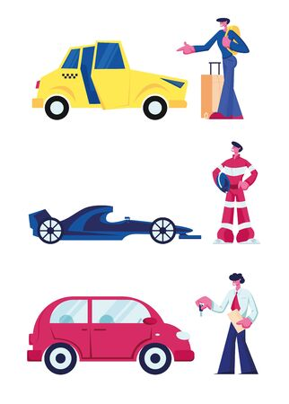 People and their Cars Set Isolated on White Background. Client Call Taxi Cab. Racer and Racing Sports Car. Businessman Buying Sedan or Coupe Automobile Vehicle Concept Cartoon Flat Vector Illustration Banque d'images - 133187535