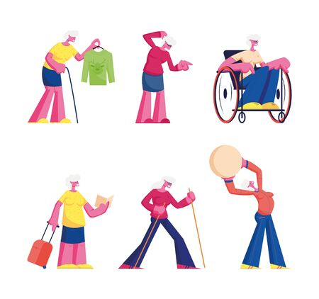 Set of Elderly Characters Disability, Hobby and Leisure Fun. Male and Female Senior People Spending Time at Home and Outdoors Traveling Doing Sport Exercises Traveling Cartoon Flat Vector Illustration Illustration