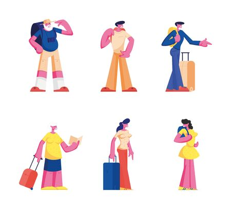 Set of Senior and Young Tourist Characters Traveling Watching Map in Trip, People with Photo Camera and Luggage Search Right Way in Foreign Country Voyage. Cartoon Flat Vector Illustration, Clip Art  イラスト・ベクター素材