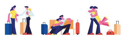 Young Loving Couple Traveling Set. Man and Woman with Luggage Waiting Boarding in Airport Sitting in Terminal. Boyfriend Meeting Girlfriend with Baggage. Spouse Trip Cartoon Flat Vector Illustration Archivio Fotografico - 133182868