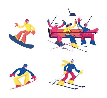 Establecer actividad de deporte de invierno de esquí y snowboard aislado sobre fondo blanco. Esquí, snowboard, deportistas, deportistas, equitación, cuestas abajo, y, montaña, funicular, caricatura, plano, vector, ilustración, imágenesprediseñadas