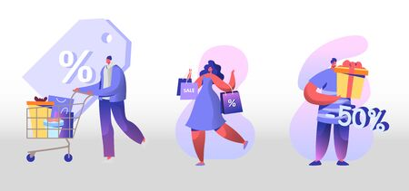Sale and Discount Set. Happy People Shopping Recreation. Male and Female Characters Buying Things and Presents for Holidays. Consumerism and Price Off Promo. Cartoon Flat Vector Illustration, Clip Art