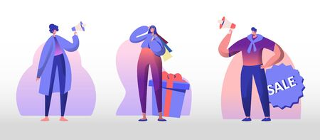 Total Sale Set. Young Man and Woman Shout in Megaphone Inviting Customers for Shopping. Girl with Bags Stand at Huge Gift Box Shop Promotion Discount and Price Off Day Cartoon Flat Vector Illustration 向量圖像