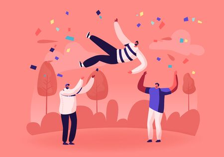 Cheerful Business Team or Good Friends Tossing in Air Man with Festive Confetti around. Businesspeople Celebrate Victory Throwing Colleague Up. Success Celebration Cartoon Flat Vector Illustration Banco de Imagens - 133183285