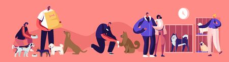 Kind People Help Homeless Animals. Men and Women Adopting Pet from Shelter, Healing and Feeding Dogs. Pound, Rehabilitation or Adoption Center for Stray Pets Concept. Cartoon Flat Vector Illustration Vectores