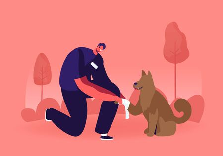 Young Man Standing on Knee Bandage Homeless Dog Paw. Volunteer Take Care and Giving Veterinary Help to Dog Living on Street. Responsibility and Helping to Animals. Cartoon Flat Vector Illustration Ilustracja