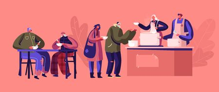 Charity Concept. Night Shelter for Homeless, Emergency Housing, Temporary Residence for People, Bums and Beggars without Home. Poor Men Women Stand in Queue Get Warm Food Cartoon Vector Illustration Иллюстрация