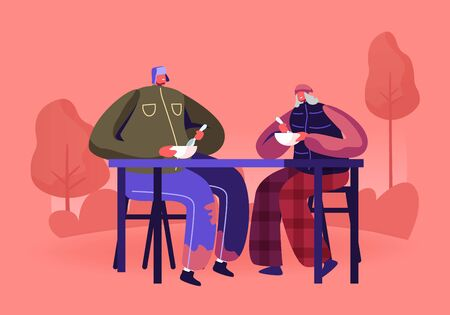 Charity Volunteering and Donation Concept. Man and Woman Beggars Sitting at Table in City Park Eating Warm Food. Social Support to Homeless People Living on Street. Cartoon Flat Vector Illustration