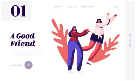 Good Friends and Friendship Website Landing Page. Happy Girls Fooling and Jumping Outdoors Spending Time Together. Women Walking Relaxing Having Fun Web Page Banner. Cartoon Flat Vector Illustration
