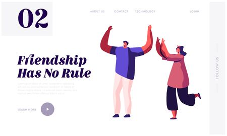 Friendship Between Man and Woman Website Landing Page. Male and Female Characters Good Friends Spend Time Together Relaxing and Fooling on Weekend Web Page Banner. Cartoon Flat Vector Illustration