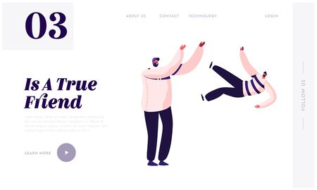 Men Friendship Website Landing Page. Cheerful Male Characters Friends Spend Time Together Walking and Relaxing. Human Relations Togetherness Youth Web Page Banner. Cartoon Flat Vector Illustration