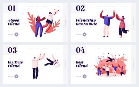 Friendship Human Relations, Happiness Website Landing Page Set. Happy People Good Friends Spending Time Together, Celebrate Party Toss Up Pal in Air Web Page Banner. Cartoon Flat Vector Illustration  イラスト・ベクター素材
