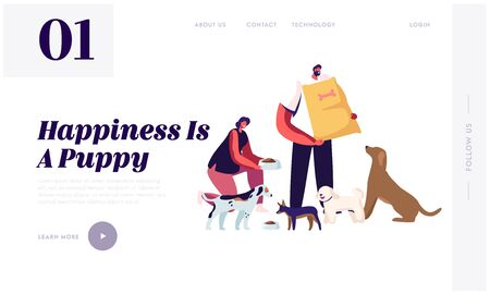 Friendly Volunteer Feeding Dogs in Animal Shelter or Pound Website Landing Page. Young Woman Giving Food to Homeless Puppies in Bowl, Man Hold Package Web Page Banner. Cartoon Flat Vector Illustration Vectores