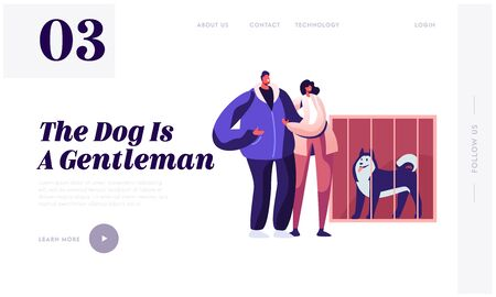 People Adopting Pet from Shelter Website Landing Page. Couple Stand at Cage with Dog in Rehabilitation Adoption Center for Stray and Homeless Animals Web Page Banner. Cartoon Flat Vector Illustration Vectores