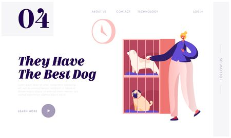 Rehabilitation or Adoption Center for Stray and Homeless Dogs Website Landing Page. Woman Adopting Pet from Animal Shelter or Pound. Owner Animal Help Web Page Banner. Cartoon Flat Vector Illustration