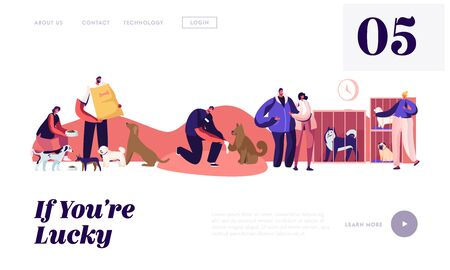 People Help Homeless Animals Website Landing Page. Kind Men and Women Adopting Pets from Shelter, Healing and Feeding Dogs. Pound, Rehabilitation Web Page Banner. Cartoon Flat Vector Illustration Illustration