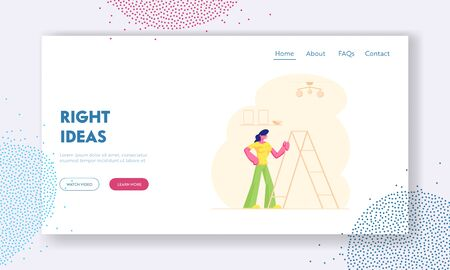 Housewife Decorate Home Interior Website Landing Page. Woman Stand near Ladder in Living Room under Lamp Hanging on Ceiling Engage Household Activity Web Page Banner. Cartoon Flat Vector Illustration