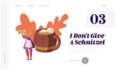 Oktoberfest Festival Website Landing Page. Young Girl Wearing Traditional Bavarian Dress Dirndl Holding Tray with Beer Mugs, Holiday Celebration Web Page Banner. Cartoon Flat Vector Illustration Illusztráció