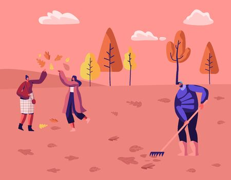 Happy People Spend Time in Autumn Park or Forest. Modern Casual Women Playing with Fallen Autumn Leaves. Man Janitor Raking Foliage from Ground. Fall Season Leisure Cartoon Flat Vector Illustration