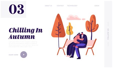 Romantic Relations, Fall Dating Website Landing Page. Loving Happy Couple Hugging, Holding Hands Sitting on Bench in Autumn Day in City Park, Love Web Page Banner. Cartoon Flat Vector Illustration