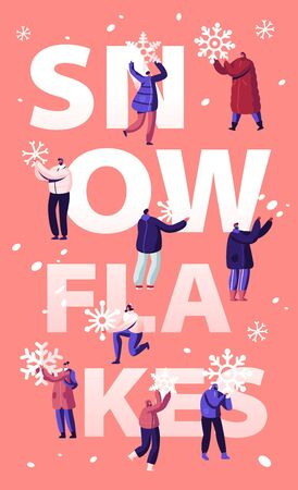 Snowfall Concept. Happy People Shoveling and Removing Snow from Street Using Shovel and Snowblower for Cleaning Road. Winter Time Activity Poster Banner Flyer Brochure Cartoon Flat Vector Illustration