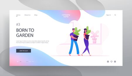 Happy Couple Care of Homeplants Website Landing Page. Man and Woman Carry Huge Flowerpots with Green Plants at Home Interior Doing Everyday Routine Web Page Banner. Cartoon Flat Vector Illustration Иллюстрация