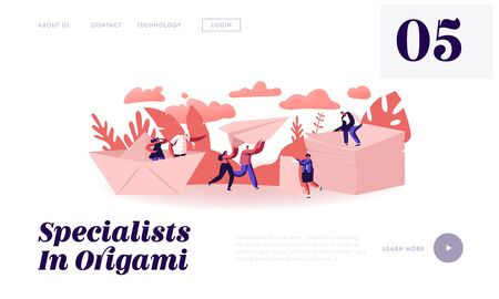 Happy People Origami Hobby Occupation Concept Website Landing Page. Characters Creating Figures of Paper, Throwing Airplane and Ship, Handmade Craft Web Page Banner. Cartoon Flat Vector Illustration
