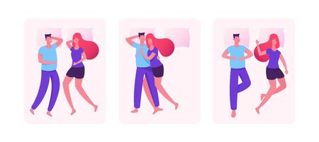 Set of Sleeping Couples. Young Man and Woman Lying on Bed in Different Positions for Sleep and Relax. Wife and Husband or Boyfriend and Girlfriend Having Leisure. Cartoon Flat Vector Illustration Иллюстрация