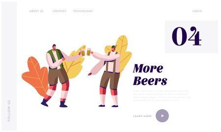 Oktoberfest Website Landing Page. Couple of Men in Traditional Bavarian Costumes Trachten Clinking Mugs Full of Foam Beer during Festival Celebration Web Page Banner. Cartoon Flat Vector Illustration